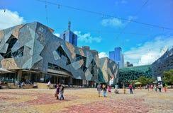 Τετράγωνο ομοσπονδίας στην πόλη της Μελβούρνης cetre Στοκ εικόνες με δικαίωμα ελεύθερης χρήσης