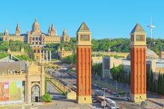 Τετράγωνο πανοράματος της Ισπανίας Placa de Espanya, στη Βαρκελώνη - capi Στοκ Εικόνες