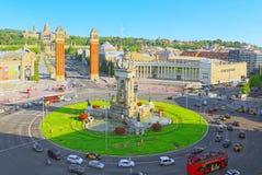 Τετράγωνο πανοράματος της Ισπανίας Placa de Espanya, στη Βαρκελώνη - capi Στοκ Φωτογραφίες