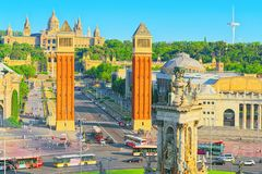 Τετράγωνο πανοράματος της Ισπανίας Placa de Espanya, στη Βαρκελώνη - capi Στοκ εικόνες με δικαίωμα ελεύθερης χρήσης