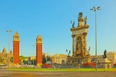 Τετράγωνο πανοράματος της Ισπανίας Placa de Espanya, στη Βαρκελώνη - capi Στοκ εικόνα με δικαίωμα ελεύθερης χρήσης