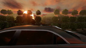 Τετράγωνο πυραύλων αγαλμάτων και περιστροφή αυτοκινήτων γύρω στο ηλιοβασίλεμα απόθεμα βίντεο