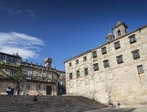 Τετράγωνο στην ιστορική παλαιά πόλη του Σαντιάγο de compostela Ισπανία Στοκ Φωτογραφία