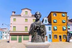 Τετράγωνο στο νησί Burano στη Βενετία Στοκ εικόνα με δικαίωμα ελεύθερης χρήσης
