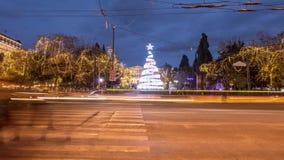 Τετράγωνο συντάγματος με το χριστουγεννιάτικο δέντρο απόθεμα βίντεο