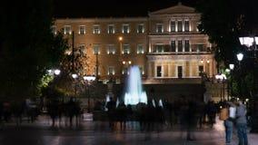 Τετράγωνο συντάγματος τη νύχτα, Αθήνα, Ελλάδα φιλμ μικρού μήκους
