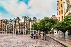 Τετράγωνο συνταγμάτων της Μάλαγας, Ισπανία Στοκ Εικόνες