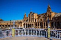 Τετράγωνο της Ισπανίας στη Σεβίλη, Ισπανία Στοκ φωτογραφία με δικαίωμα ελεύθερης χρήσης
