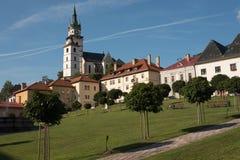 Τετράγωνο της ιστορικής ευρωπαϊκής πόλης Kremnica Στοκ Εικόνα