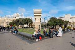 Τετράγωνο της Καταλωνίας στη Βαρκελώνη, Ισπανία Στοκ φωτογραφία με δικαίωμα ελεύθερης χρήσης