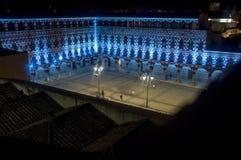 Τετράγωνο ύψους, Plaza Alta Badajoz, που φωτίζεται από τα οδηγημένα φω'τα α Στοκ φωτογραφίες με δικαίωμα ελεύθερης χρήσης
