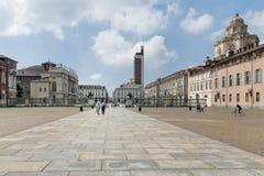 Τετράγωνο Castello, Τορίνο, Ιταλία Στοκ φωτογραφίες με δικαίωμα ελεύθερης χρήσης