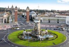 Τετράγωνο Espanya στη Βαρκελώνη και το εθνικό παλάτι Στοκ φωτογραφίες με δικαίωμα ελεύθερης χρήσης