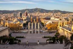 Τετράγωνο Espanya στη Βαρκελώνη και Tibidabo Στοκ φωτογραφία με δικαίωμα ελεύθερης χρήσης
