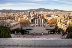 Τετράγωνο Espanya στη Βαρκελώνη και Tibidabo Στοκ Εικόνα