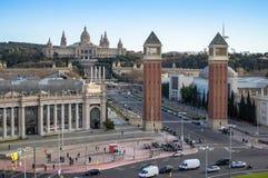 Τετράγωνο Espanya στη Βαρκελώνη και το εθνικό παλάτι Στοκ Εικόνα