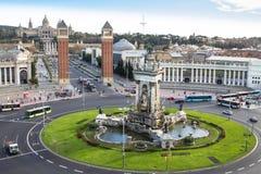 Τετράγωνο Espanya στη Βαρκελώνη και το εθνικό παλάτι Στοκ Εικόνες