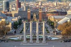 Τετράγωνο Espanya στη Βαρκελώνη και Tibidabo Στοκ Εικόνες