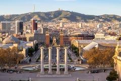 Τετράγωνο Espanya στη Βαρκελώνη και Tibidabo Στοκ Φωτογραφία