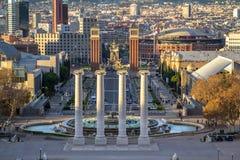 Τετράγωνο Espanya στη Βαρκελώνη και Tibidabo Στοκ Φωτογραφίες
