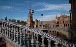Τετράγωνο plaza της Ισπανίας στη Σεβίλη Στοκ Φωτογραφία