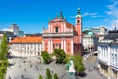 Τετράγωνο Preseren, Λουμπλιάνα, πρωτεύουσα της Σλοβενίας Στοκ εικόνα με δικαίωμα ελεύθερης χρήσης