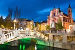 Τετράγωνο Preseren, Λουμπλιάνα, πρωτεύουσα της Σλοβενίας Στοκ Εικόνες
