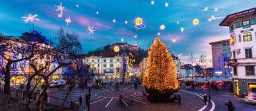 Τετράγωνο Preseren, Λουμπλιάνα, Σλοβενία, Ευρώπη. στοκ εικόνες