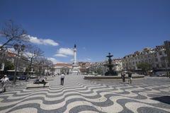 τετράγωνο rossio της Λισσαβώνας Πορτογαλία Στοκ Φωτογραφίες