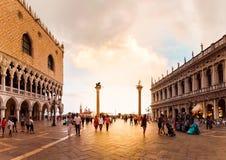 Τετράγωνο SAN Marco με Doge το παλάτι στο ηλιοβασίλεμα Ιταλία Βενετία Στοκ εικόνες με δικαίωμα ελεύθερης χρήσης