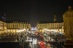 Τετράγωνο Vittorio τή νύχτα, Τορίνο Στοκ φωτογραφία με δικαίωμα ελεύθερης χρήσης