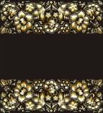 Τετραγωνικά εκλεκτής ποιότητας χρυσά λουλούδια θέματος σε ένα μαύρο υπόβαθρο Στοκ Εικόνα