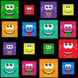 Τετραγωνικά ζωηρόχρωμα χαμόγελα - διανυσματικό σύνολο ή σχέδιο απεικόνιση αποθεμάτων