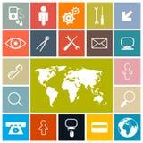 Τετραγωνικά διανυσματικά εικονίδια καθορισμένα Στοκ εικόνα με δικαίωμα ελεύθερης χρήσης