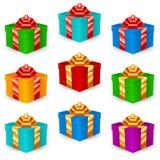 Τετραγωνικά κιβώτια δώρων πολύχρωμα διανυσματική απεικόνιση