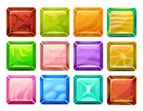 Τετραγωνικά κουμπιά κινούμενων σχεδίων καθορισμένα Στοκ Εικόνες
