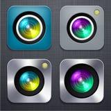 Τετραγωνικά σύγχρονα app φωτογραφικών μηχανών εικονίδια. ελεύθερη απεικόνιση δικαιώματος