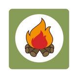 Τετραγωνικά σύνορα με την ξύλινη πυρκαγιά ελεύθερη απεικόνιση δικαιώματος