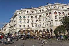 Τετραγωνική άποψη ημέρας Θεσσαλονίκης, Ελλάδα Aristotelous Στοκ εικόνα με δικαίωμα ελεύθερης χρήσης