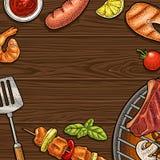 Τετραγωνική αφίσα με bbq Διανυσματική εκλεκτής ποιότητας απεικόνιση χάραξης χρώματος ελεύθερη απεικόνιση δικαιώματος