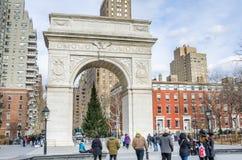 Τετραγωνική αψίδα της Ουάσιγκτον τη χειμερινή ημέρα, Νέα Υόρκη Στοκ Φωτογραφίες