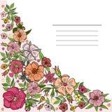 Τετραγωνική κάρτα, έμβλημα με ένα στοιχείο γωνιών των ρόδινων λουλουδιών r ελεύθερη απεικόνιση δικαιώματος