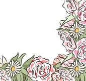 Τετραγωνική κάρτα με τα λεπτά συρμένα λουλούδια fractal λουλουδιών απεικόνιση πλαισίων διανυσματική απεικόνιση