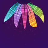 Τετραγωνική κάρτα με τα πολύχρωμα φτερά boho των πουλιών με τη διακόσμηση, τα αστέρια και μια θέση για το κείμενο στο σκοτεινό υπ απεικόνιση αποθεμάτων