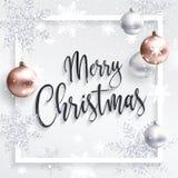 Τετραγωνική κάρτα Χριστουγέννων με τα ασημένια τσέκια Στοκ Φωτογραφίες