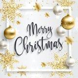 Τετραγωνική κάρτα Χριστουγέννων με τα χρυσά τσέκια Στοκ Φωτογραφίες