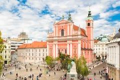 Τετραγωνική και φραντσησθανή εκκλησία Preseren Annunciation, Λουμπλιάνα, Σλοβενία, Ευρώπη Στοκ φωτογραφία με δικαίωμα ελεύθερης χρήσης