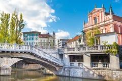 Τετραγωνική και φραντσησθανή εκκλησία Preseren Annunciation, Λουμπλιάνα, Σλοβενία, Ευρώπη Στοκ εικόνες με δικαίωμα ελεύθερης χρήσης