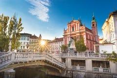 Τετραγωνική και φραντσησθανή εκκλησία Preseren Annunciation, Λουμπλιάνα, Σλοβενία, Ευρώπη Στοκ φωτογραφίες με δικαίωμα ελεύθερης χρήσης