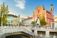Τετραγωνική και φραντσησθανή εκκλησία Preseren Annunciation, Λουμπλιάνα, Σλοβενία, Ευρώπη Στοκ Εικόνες